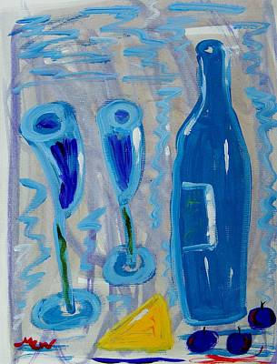 Wine And Cheese Art Print by Mary Carol Williams