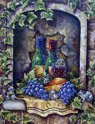 Painting - Wine And Cheese Social by Gail Butler