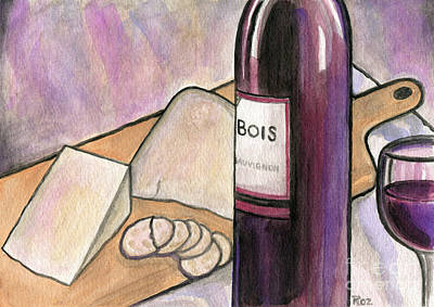Painting - Wine And Cheese Tonight by Roz Abellera