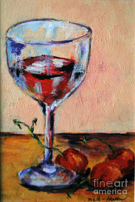 Wine And Cherries Art Print by Toelle Hovan