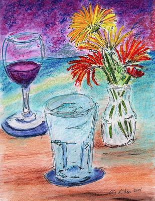 Painting - Wine And Flowers 2 by William Killen