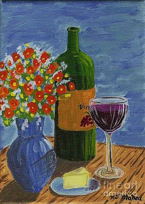 Painting - Wine And Flowers by Vicki Maheu