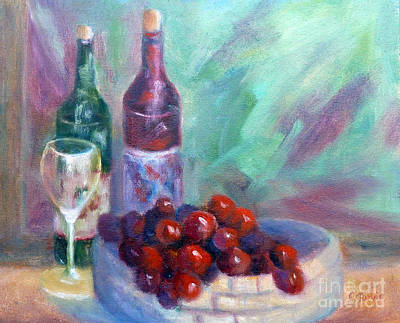 Painting - Wine And Fruit by Carolyn Jarvis