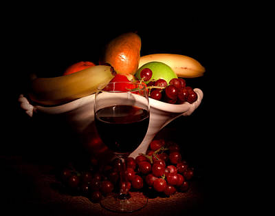 Wine And Fruit Art Print by Cecil Fuselier