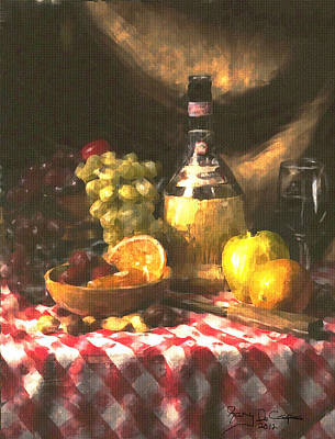Wine And Fruit Art Print