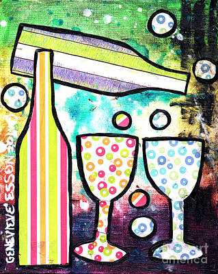 Mo Artist Painting - Wine And Glass Collage Abstract by Genevieve Esson
