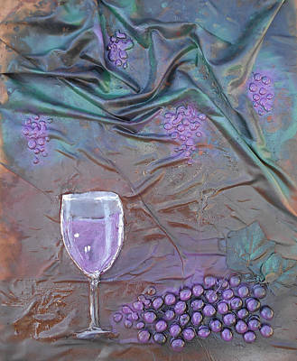 Mixed Media - Wine And Grapes by Angela Stout