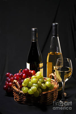 Black Background Photograph - Wine And Grapes by Elena Elisseeva