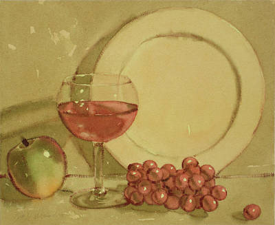 Painting - Wine And Plate by Joe Schneider