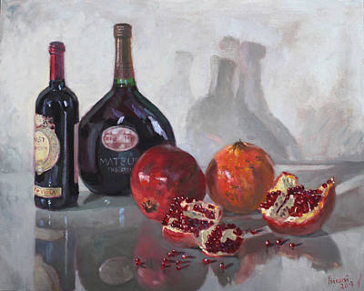 Pomegranate Painting - Wine And Pomegranates by Ylli Haruni
