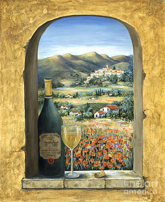 Glass Painting - Wine And Poppies by Marilyn Dunlap
