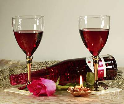 Wine And Rose By Candlelight Print by Inspired Nature Photography Fine Art Photography