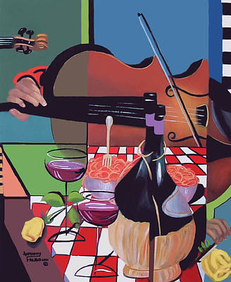 Blue And Red Painting - Wine And Roses by Anthony Falbo
