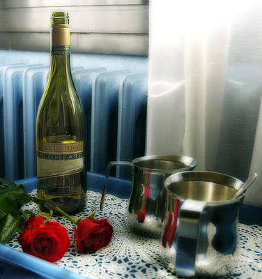 Silver-filled Photograph - Red Roses And Chardonay Bottle by Ginger Wakem