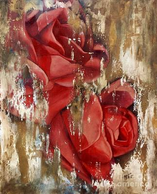 Wine And Roses Art Print by Rebecca Glaze