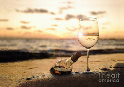 Wine Bottle Photograph - Wine And Sunset by Jon Neidert