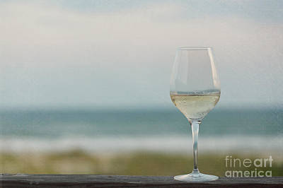 Wine At The Beach Print by Kay Pickens