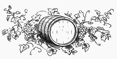 Wine Barrel Among Grapes And Vine Leaves (illustration) Art Print