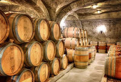 Wine Barrells In The Cellar Art Print