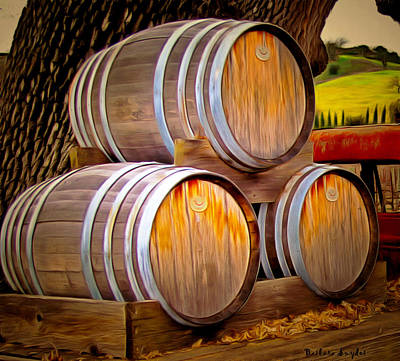 Wine Barrel Painting - Wine Barrels Blackjack Winery by Barbara Snyder