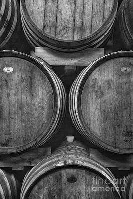 Photograph - Wine Barrels Monochrome by Michele Steffey