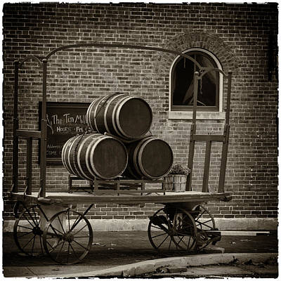 Wine Cart Photograph - Wine Barrels On Rr Cart Hermann Mo Dsc09285 by Greg Kluempers