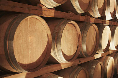 Wine Barrel Photograph - Wine Barrels Stacked On Shelves Niagara by Bruno Crescia