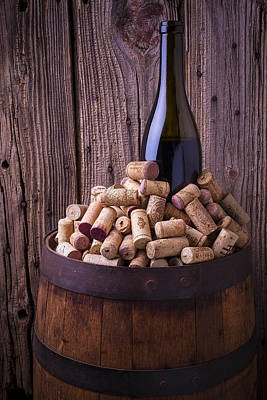 Wine Barrel Photograph - Wine Bottle And Corks by Garry Gay