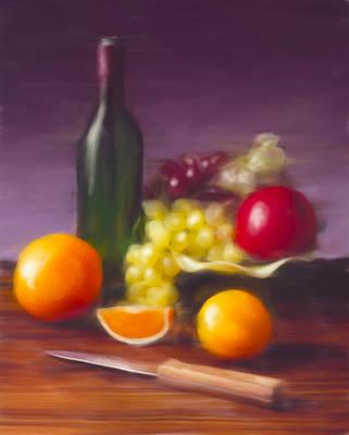 Wine Bottle And Fruit Art Print