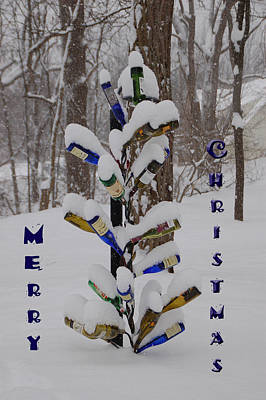 Photograph - Wine Bottle Sculpture Christmas Card by Aimee L Maher Photography and Art Visit ALMGallerydotcom