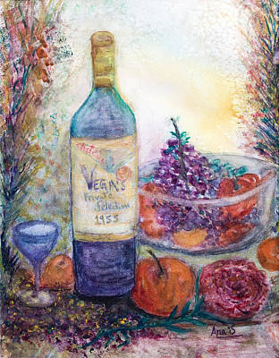 Wine Bottle Selection  Art Print by Anais DelaVega