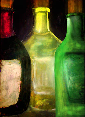 Wine Bottle Trio Print by C Fanous