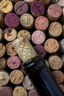 Stopper Photograph - Wine Bottle With Corks by Garry Gay