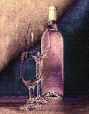 Wine Bottle With Glasses Art Print by Tom Mc Nemar