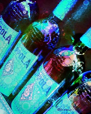 Purple Grapes Digital Art - Wine Bottles by Cindy Edwards