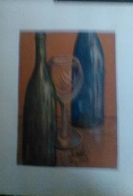 Wine Bottles  Art Print by Jeanette  Malinchok