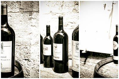 Vino Photograph - Wine Bottles Triptych by Georgia Fowler