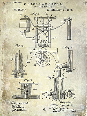 1890 Wine Bottling Machine Art Print