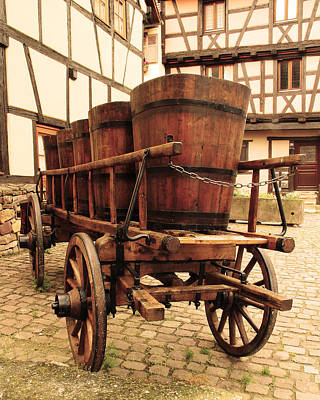 Wine Cart In Alsace France Art Print by Greg Matchick