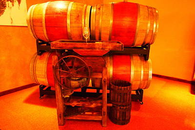 Wine Casks And A Grape Crusher Art Print