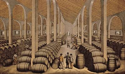 Wine Cellar At Jerez De La Frontera  Art Print by Spanish School