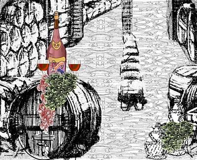 Wine Cellar Drawing - Wine Cellar by Belinda Threeths
