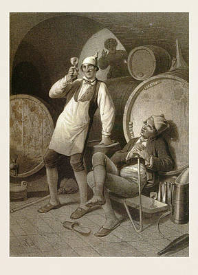Winery Drawing - Wine Cellar, Drinking A Glass Of Wine, Two Men, Wine by English School