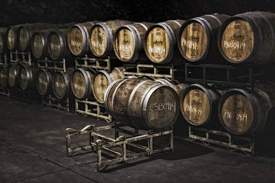 Wine Barrel Photograph - Wine Cellar Fermentation by Susan Candelario