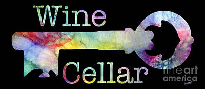 Wine Cellar Watercolor On Black Art Print