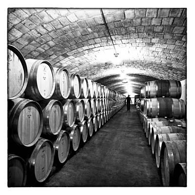 Vino Photograph - Wine Cellar With Oak Barrels by Nicole Neuefeind