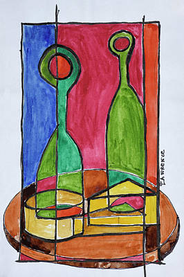 Wine, Cheese And Baguette Lunch, Paris Art Print