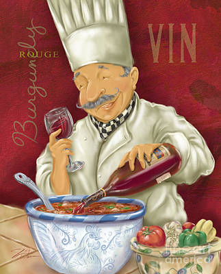 Vino Mixed Media - Wine Chef II by Shari Warren