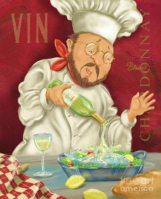 Vino Mixed Media - Wine Chef IIi by Shari Warren