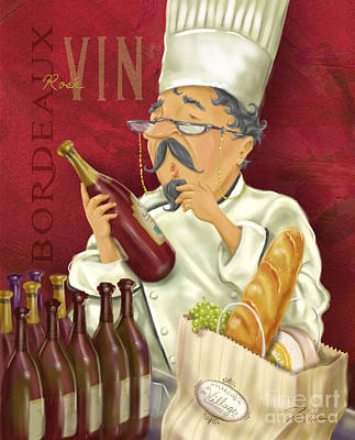 Vino Mixed Media - Wine Chef Iv by Shari Warren
